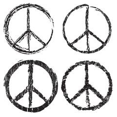 Set of grunge peace symbol