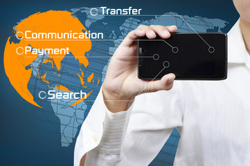 Wall Mural - Concept of mobile communication business.