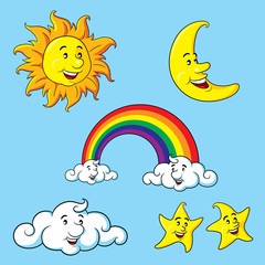 Sun Moon Stars Clouds & Rainbow Cartoon