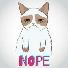 Vector grumpy cat - crazy funny illustration