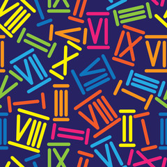 multicolored roman numerals seamless pattern