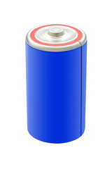 Blue battery on white background.
