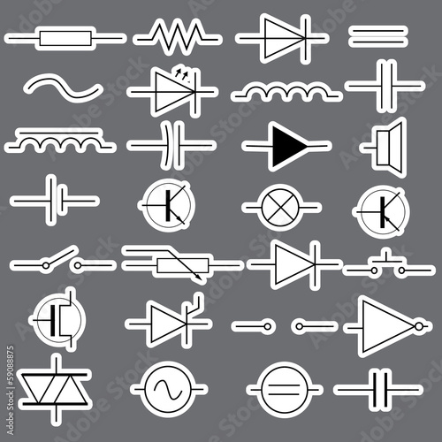 Schematic Symbols In Electrical Engineering Stickers Eps10 Stock