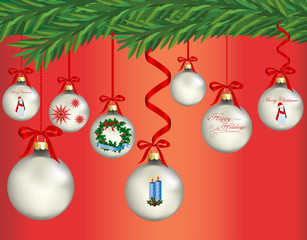 Christmas-Red & Silver Ornaments