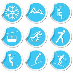 Winter sport icons set. Vector illustration