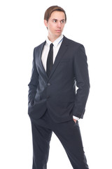 Handsome male fashion model in black business suit