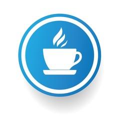 Coffee symbol,Blue button,vector