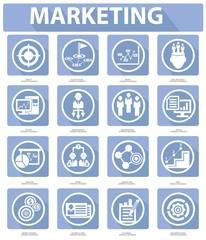 Flat Marketing Icons,Blue version,vector