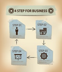 4 Steps for Business concept,vector