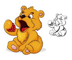 teddy bear eats raspberries