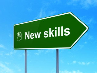Education concept: New Skills and Head With Finance Symbol