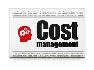 Business concept: newspaper with Cost Management and Head