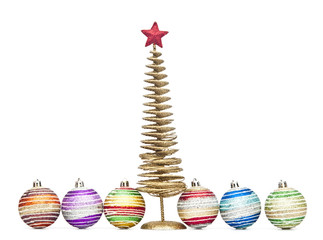 christmas tree with gift and ball over white background