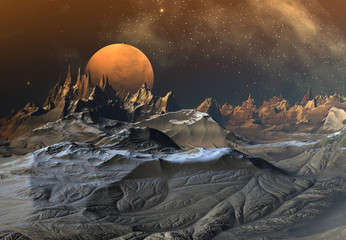 Alien Planet with Mountains and Snow