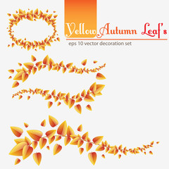 Red autumn leafs decoration set