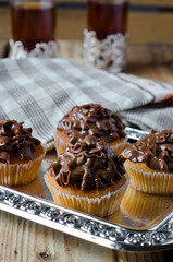 Cupcakes with chocolate cream