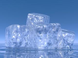 Ice cubes - 3D render
