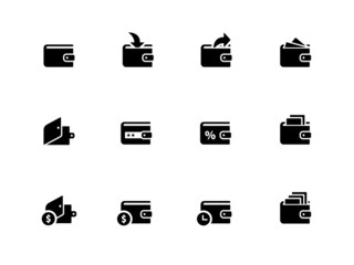 Wallet icons on white background