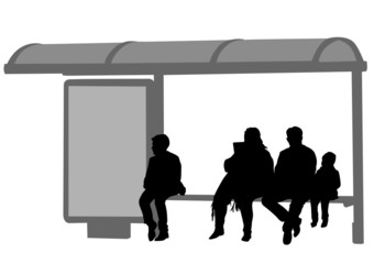 Wall Mural - People at bus stop