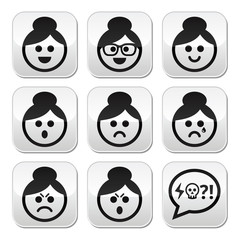 Grandma face, woman with bun hair vector buttons set