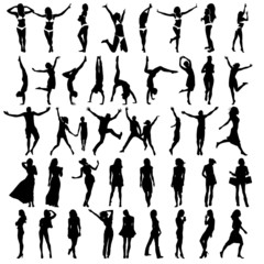 Silhouettes of girls . Vector illustration
