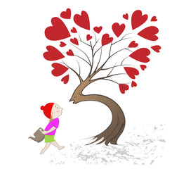 girl giving kiss the tree