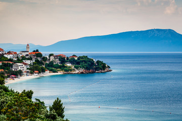 Town of Gradac on Makarska Riviera and Island Brac in Background