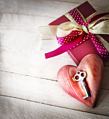 Valentines Day gift box and heart with key as a symbol of love
