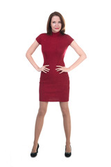 Woman in a little red dress on white background