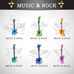 Music And Rock Icons Set - Isolated On Gray Background