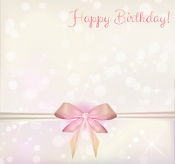 Birthday background with ribbon bow