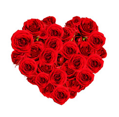 Beautiful heart made of red roses