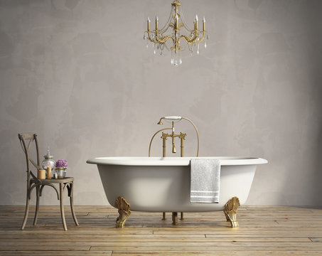 Classic bathtub with chandellier and aged wood floor