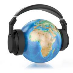 Headphones on planet Earth.