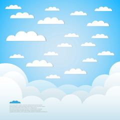 Good weather paper background - Blue sky with clouds and ocean w