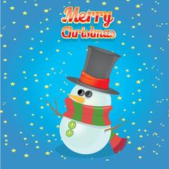 Vector cartoon snowman. merry christmas card background