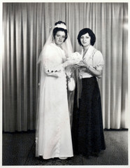 girl friends - wedding photo scan - about 1960