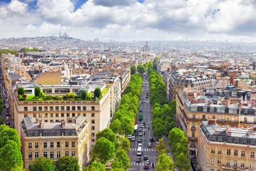 Fotomurales - View of Paris from the Arc de Triomphe.  .Paris. France.