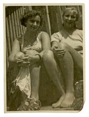 Two girls on summer break (in summer dress) - circa 1945