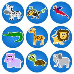 Cute animals in blue circles.