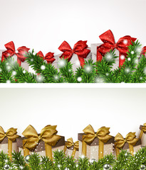 Christmas banners with fir branches gift boxes.