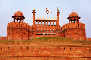 Majestic facade of Red Fort