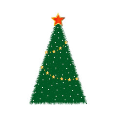 the dressed up fir-tree on a white background