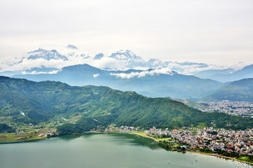 Poster Nepal View of Pokhara lake with Annapurna in background, Nepal