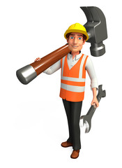 Worker with big hammer & wrench