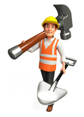 Worker with big hammer & spade