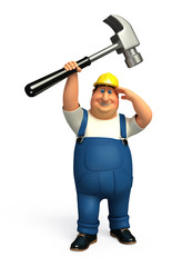 Plumber with his hammer