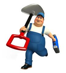 plumber with Spade & tool box