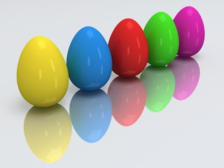 Row of colored eggs. 3D.