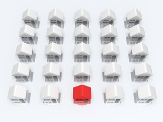 White blank houses and red one. 3d render.